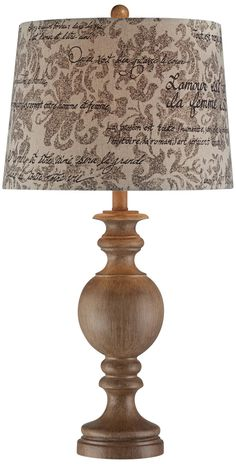 Table lamp wood - Weathered Wood Finish French Script Shade Table Lamp LampsPlus com Wooden Lamp Base, Wooden Table Lamps, Bedside Table Lamps, Wood Lamps, Traditional Table Lamps, Candle Lamp, French Script, Weathered Wood, Lamp Bases