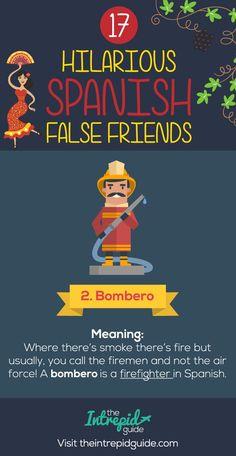 False Friends in Spanish False cognates - Bombero Teach Yourself Spanish, Learn To Speak Spanish, Learn Spanish Online, Spanish Cognates, Spanish Vocabulary, Vocabulary Words, Spanish Sentences, Spanish Teaching Resources, Spanish Language Learning