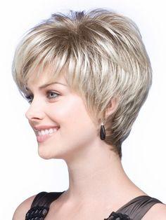 Blonde European Short Straight Synthetic Hair Wig @ Synthetic Wigs For W. Natural Hair Wigs, Short Hair Wigs, Wigs With Bangs, Long Bangs, Curly Hair Styles, Natural Hair Styles, Long Hair Tips, Smooth Hair, Pixie Hairstyles