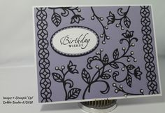 Used SU Flourish Thinlits dies & added pearls. Card stock: SU Wisteria Wonder, Black & White. Sentiment is from SU  Sincere Salutations (retired) stamped in Black Versafine ink, clear EP & heat set, then popped up w/ dimensionals. Also used Layering Ovals dies.