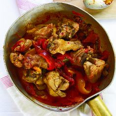 Italian Main Dishes Chicken Roman-Style Braised Chicken with Roasted Peppers Italian Main Dishes, Wine Recipes, Cooking Recipes, Great Chicken Recipes, Turkey Recipes, Food & Wine Magazine, Braised Chicken, Roasted Chicken, Pasta