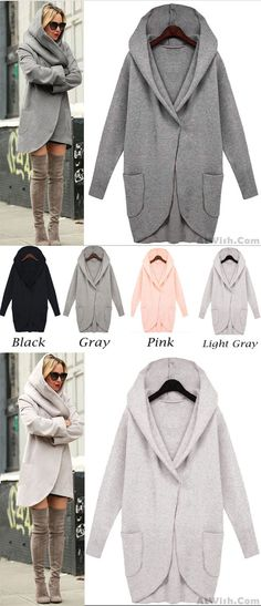 Unique Simple Loose Wool Jacket Long-sleeved With Pocket for big sale! #wool #jacket #sweater #coat