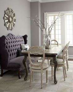 Purple Tufted Style Dining Room Banquette With Square Shape Grey Wood Table