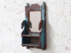 Originally used as a shaving mirror, this rustic blue mirror would suit any room in your home, on a wall alone or part of a gallery wall. Vintage Mirrors, Blue Mirrors, Repurposed Furniture, Vintage Furniture, Rustic Blue, Wall Mirror, Candle Sconces, Shaving, Projects To Try