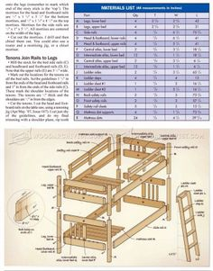 #160 Mission Style Bunk Bed Plans - Children's Furniture Plans