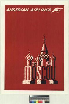 Austrian Airlines Vintage Poster 1960