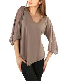 Take a look at this Mink Asymmetrical Sheer Scoop Neck Top - Plus on zulily today!