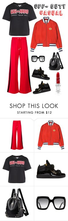 """""""Model off duty"""" by kotnourka ❤ liked on Polyvore featuring Tommy Hilfiger, Giuseppe Zanotti and Gucci"""