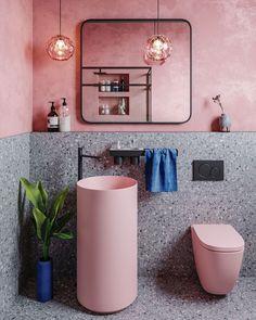 Pastel pink bathrooms, hot pink bathrooms, pink bathroom tiles, pink bathroom sets, pink basins and pink vanities. These pink bathroom ideas have it all & more. Hot Pink Bathrooms, Pink Bathroom Tiles, Pink Bathroom Interior, Pink Bathroom Accessories, Pink Tiles, Home Interior, Small Bathroom, Blush Bathroom, Colorful Bathroom