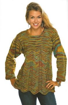 """Scalloped-Edge Tunic"" Designed by Doreen L. Marquart. Knit with ""Wool Twist"" from Happy Hands Yarn."