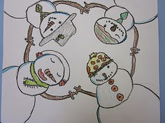 """A Snowman Huddle"" drawing -Cute!  Grade 3"