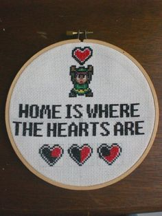 Project. My very first cross stitch project. Well here it is folks, in all it's geeky glory! I don't know if you can tell, but I'm still quite into my zelda!