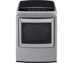 LG - 7.3 Cu. Ft. 12-Cycle Electric Dryer with Steam - Graphite Steel - Front Zoom