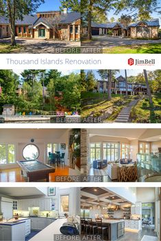 Before and After Thousand Islands Waterfront Home Renovation - Jim Bell Architectural Design Inc. Thousand Islands, Commercial Architecture, Waterfront Homes, Home Renovation, Custom Homes, Cottages, Architecture Design, Suit, House Design