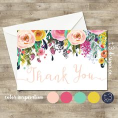 Whimsical Girl thank you card floral thank you by T3DesignsCo
