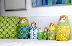 Russian doll softies. Fabric from Spoonflower.