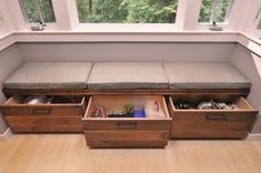 Modern Bench Drawers   Custom built-in bench seating area with pull-out drawers under window ...
