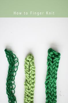 finger knitting tutorial. How it looks with different yarns: regular, bulky, and macrame.