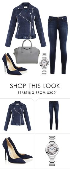 """""""Leather jackets"""" by astridireneverbaan ❤ liked on Polyvore featuring Gestuz, 7 For All Mankind, Jimmy Choo, Cartier, Givenchy, Leather and navyblue"""