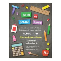 102 best school invitations and awards images on pinterest colourful chalkboard back to school party invitation card stopboris Image collections