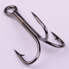 Lot 10pcs Fishing Hook Sharpened Treble Hooks Fishhook Tackle 5 Size 2/4/6/8/10
