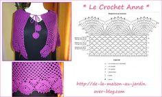 Pèlerine violette , ornée d'une bordure dentelle ! http://crochet-gratuits.overblog.com/2013/12/%E2%99%A5-mes-ouvrages-r%C3%A9alis%C3%A9s-%E2%99%A5-mod%C3%A8les-et-grilles-%C3%A0-imprimer.html