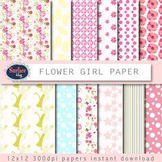 Digital paper FLOWER GIRL floral digital paper Hand drawn digital paper Garden digital paper Pretty floral paper Girl digital paper