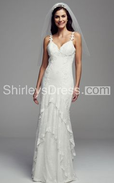 Romantic Lace-tiered Gown With Shear Bodice and Mirage Back