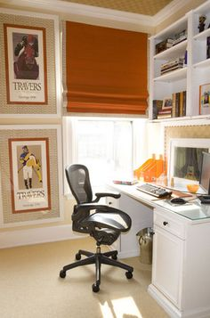 Simplified Bee®: Chic Equestrian Style in Home Decor New York-based designer Amanda Nisbet stacks colorful jockey and horse racing posters beside the desk in this bedroom.