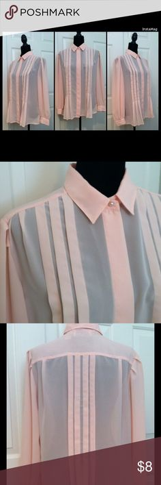 "La Blouse Pale Peach Dress Blouse La Blouse Pale Peach Dress Blouse     Very good condition – very pale peach blouse.  It is semi-sheer with a pin-tuck detail in the front and back.  ""Pearl"" button cuffs and on the top button; other front buttons are hidden for a clean look.  No stains or flaws.     Armpit to armpit – 24.5""  Collar to hem (length) – 26.5""  Sleeve length – 23"" La Blouse Tops"