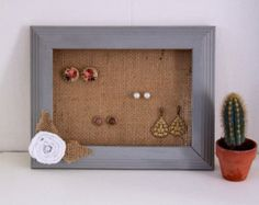 Stud Earring Organizer, Grey Frame Earring Holder, burlap and lace wedding, Stud organizer, earring holder stud, earring display