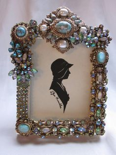 Vintage Jewelry Embellished Picture Frame Rhinestones Faux Turquoise Moonstone Blue Green