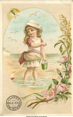 Clark's Cotton: Girl at beach :: Victorian Trade Cards