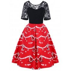 SHARE & Get it FREE | Christmas Lace Yoke Knee Length Swing DressFor Fashion Lovers only:80,000+ Items·FREE SHIPPING Join Dresslily: Get YOUR $50 NOW!