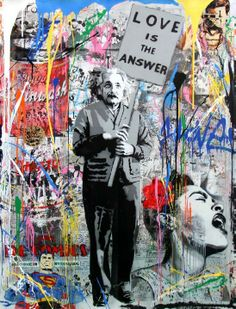 Mr Brainwash - Love is the Answer (Einstein) | From a unique collection of figurative paintings at http://www.1stdibs.com/art/paintings/figurative-paintings/