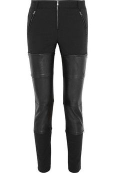 3.1 Phillip Lim Wader leather-paneled cotton-blend skinny pants   THE OUTNET