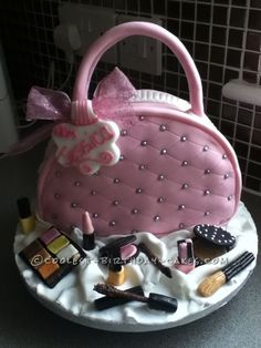 Coolest Bag with Make Up Cake... This website is the Pinterest of birthday cake ideas