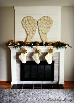 Christmas Mantel Decor On A Budget With Large Awesome Beautiful Angel