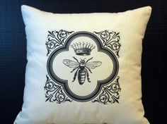Queen Bee Garden Pillow by WordGarden on Etsy. Big Love, Beautiful Love, First Love, Bee Free, I Love Bees, Bee Happy, Bees Knees, French Decor, Queen Bees