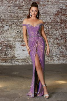 Style Number: CD Off the shoulder iridescent sequin gown with embellished belt and gathered waistline. Available in Opal Violet, Opal Sizes Formal Evening Dresses, Evening Gowns, Strapless Dress Formal, Evening Party, Evening Attire, Gown With Slit, Sequin Gown, Sequin Fabric, Off Shoulder Gown
