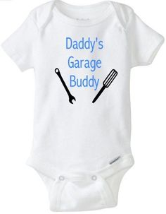 Daddys Garage Buddy Baby Boy Onesie Baby Shower by RKCreativeImpression Baby Outfits, New Daddy, Boy Onesie, Baby Shirts, Cute Baby Clothes, Babies Clothes, Baby Fever, Future Baby, Baby Shower Gifts