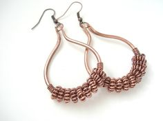 Handmade Copper Hoops Earrings-Hand Hammered Drop by AnnaRecycle