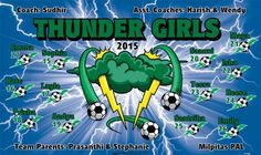 Girls-Thunder-47388  digitally printed vinyl soccer sports team banner. Made in the USA and shipped fast by BannersUSA. www.bannersusa.com