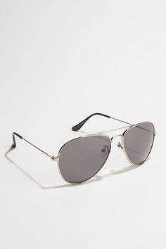 Classic Metal Aviator Sunglasses - Silver - One Size