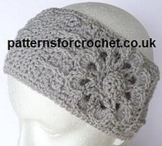 Free crochet pattern for Ear Warmer Headband with Flower Motif, made in DK/Worsted weight yarn to fit adult head.