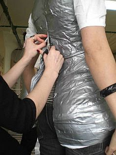 How to make a mannequin of your own body for dressmaking... I NEED to do this for fitting my knitting and sewing! Id add arms and keep my wedding dress on it when not in use!