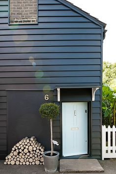 Exterior Paint Sage - - Exterior Render Colours - Tiny Cottage Exterior - French Exterior Homes - Exterior De Casas Playa Exterior Colors, Exterior Paint, Exterior Design, Interior And Exterior, Black Exterior, Wood Cladding Exterior, Black Cladding, Roof Cladding, French Exterior