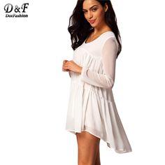 Элегантные корейском стиле дамы-хай-стрит бренд милый новое поступление модные свободного покроя женский белый V шею длинным рукавом плиссированные