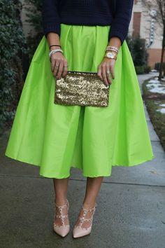 Lime Green Midi Skirt