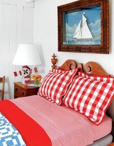 Coastal Home, Bedroom...gingham love!